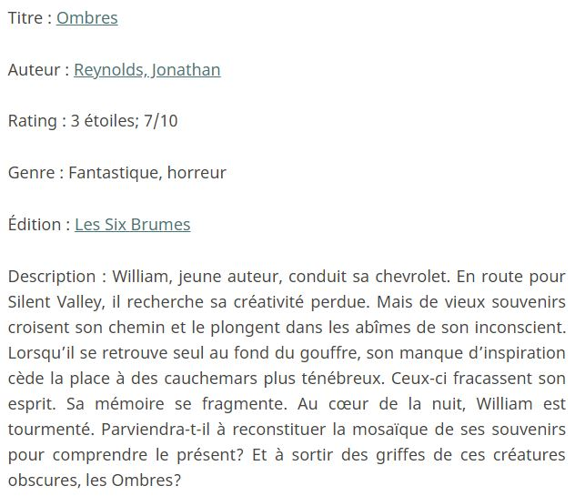 Exemple de fiche technique, tiré de ma review d'Ombres de Jonathan Reynolds