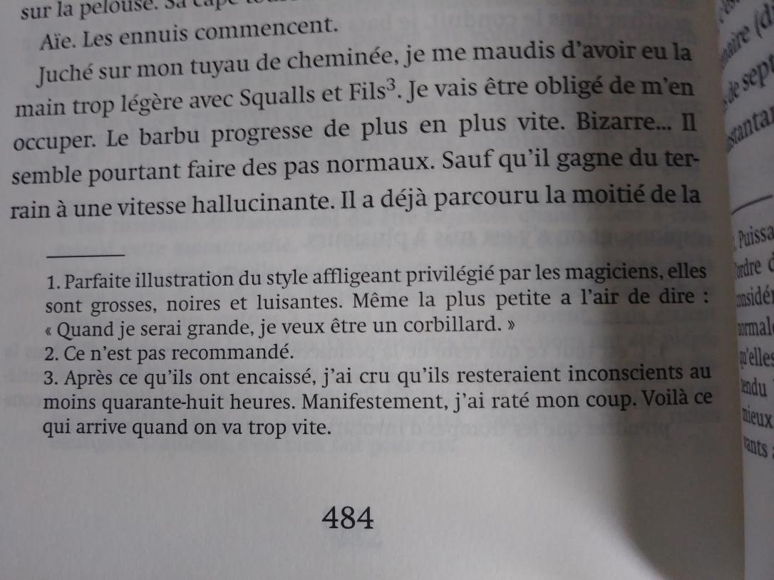 Exemple des notes de bas de page utilisées pour représenter les pensées de Bartiméus,