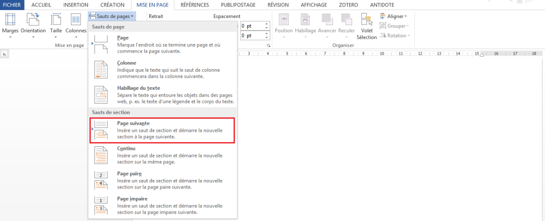 "Section Sauts de section, article ""Didacticiel Microsoft Word: Petit guide pour utiliser les sauts de page"", 14 septembre 2018"