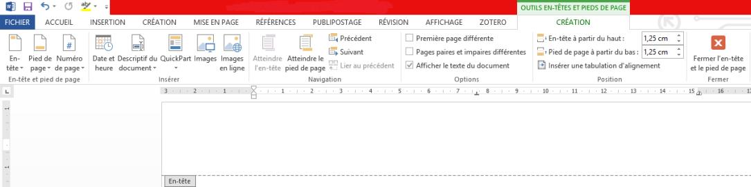 Menu OUTILS EN-TÊTES ET PIEDS DE PAGE - Des didacticiels Microsoft Word sur lilitherature.com.