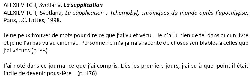 Définir « ALEXIEVITCH, Svetlana, La supplication » comme titre de Niveau 1