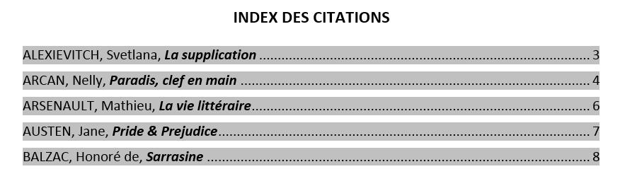 Exemple de l'Index des citations