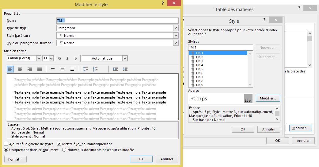 Menu pour Modifier le style de la table des matières dans Microsoft Word