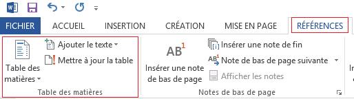Section de la Table des matières dans l'onglet RÉFÉRENCES du logiciel Microsoft Word