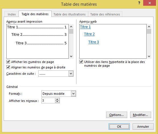 Menu de la Table des matières personnalisée dans le logiciel Microsoft Word