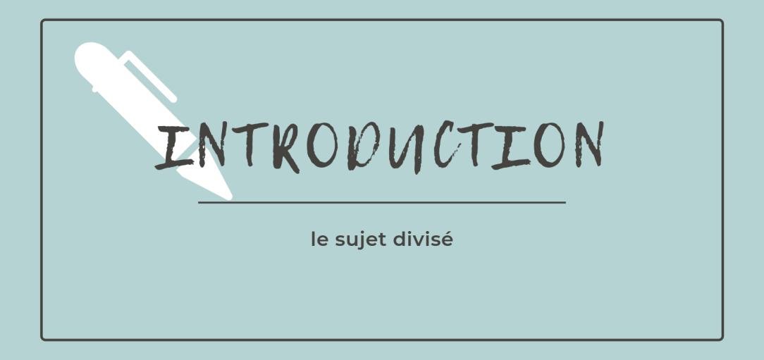 Comment écrire une introduction : le sujet divisé