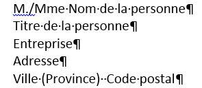 Exemple de la mise en forme d'une adresse dans une lettre