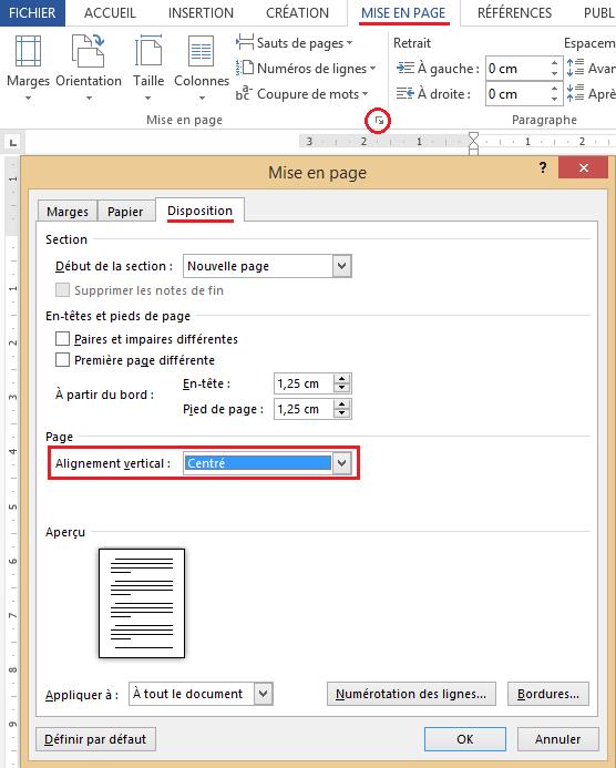 Comment centrer verticalement une page dans Microsoft Word