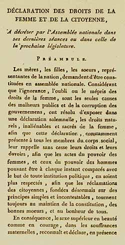 Déclaration des droits de la femme et de la citoyenne 1791