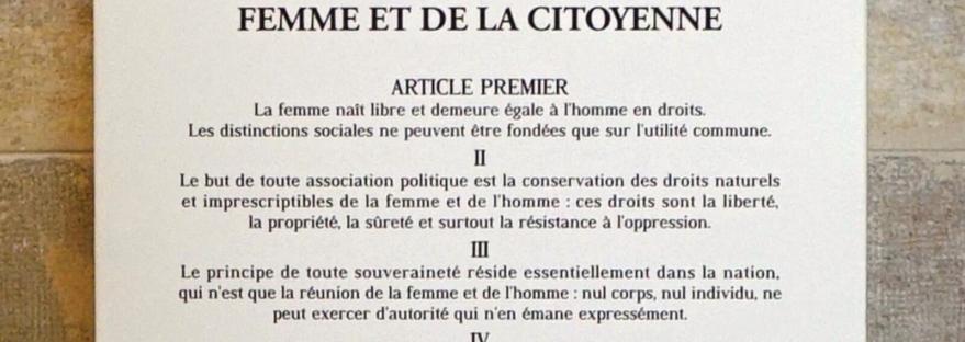 La Déclaration des droits de la femme et de la citoyenne est un court texte juridique publié en 1791. Il s'agit de la réponse (effrontée) de l'écrivaine française et femme politique Olympe de Gouges à la Déclaration des droits de l'homme et du citoyen de 1789. Petite analyse de son effronterie sur lilitherature.com.