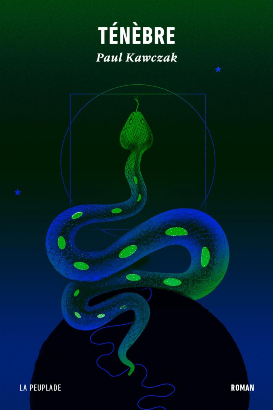 Un serpent sur un fond vert et bleu
